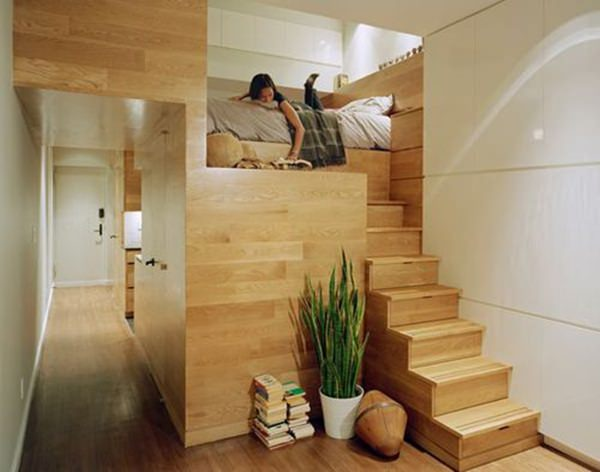 Unpretentious small bedroom is wonderfully designed. Practical for those who like things nice room. Makes it different from your home. Wood design is quite good.