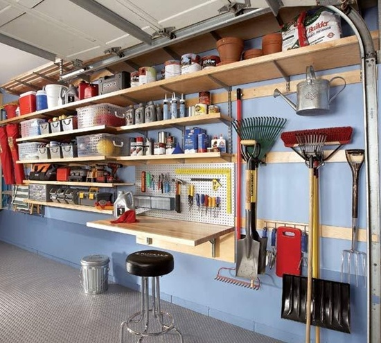 Charming Blue Wooden Style Adjustable Garage Shelving Ideas Prefab