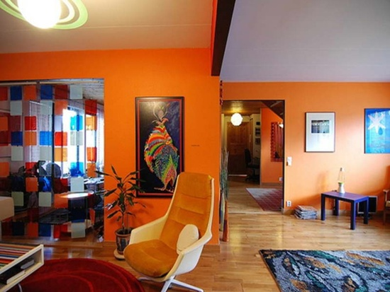How to Paint Elegant Living Room by Orange Living Room Ideas