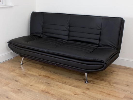Cool Black Cheap Sofa Beds Chrome Leg Laminate Floor