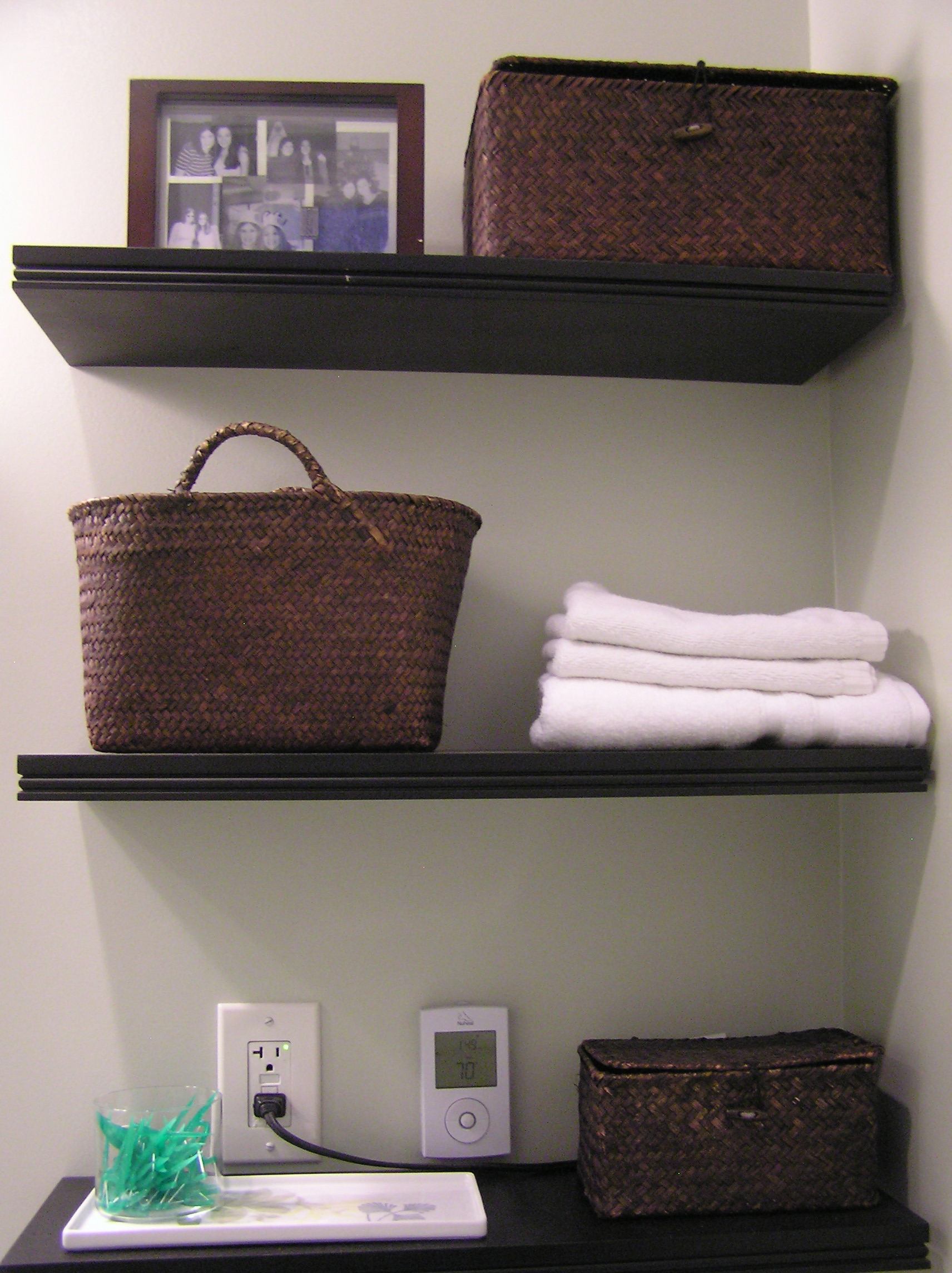 Bathroom wall storage ideas - Olympus Digital Camera Hanging Shelves Bathroom