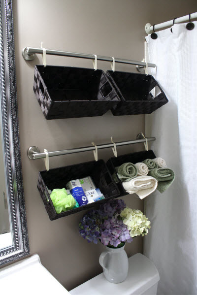 2ndbathShelves-742846 wicker-baskets-in-bathroom bathroom-storage ... - 33 Clever & Stylish Bathroom Storage Ideas