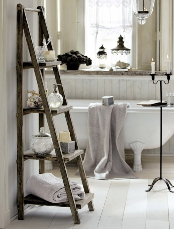 standing-wooden-ladder-shelf-bathroom-storage-ideas-towel-rack