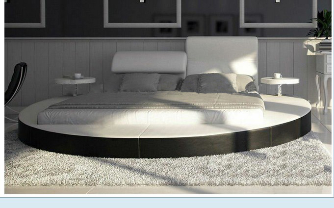 Luxury-extra-large-size-round-bed-Top-grain-leather-Soft-Bed-Villa-King-zise-round-beds