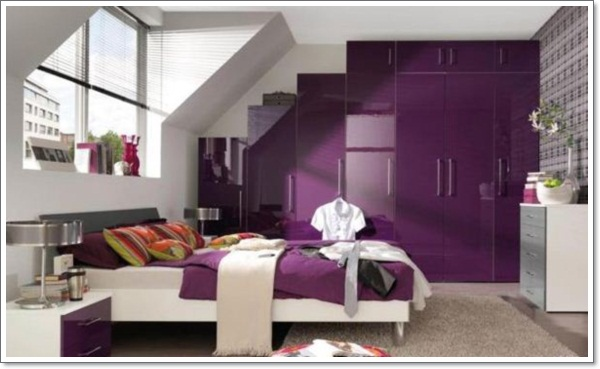 Gloss Purple Wardrobe And Clean White Modern Furniture  ...