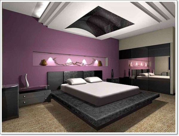 35 inspirational purple bedroom design ideas - Purple black and white room ideas ...