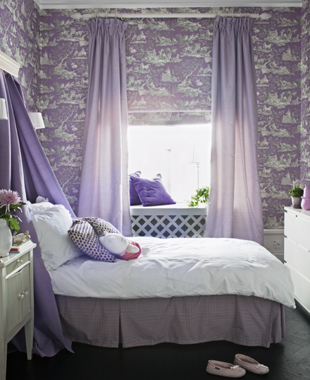purple toille bedroom. Interior Design Ideas. Home Design Ideas