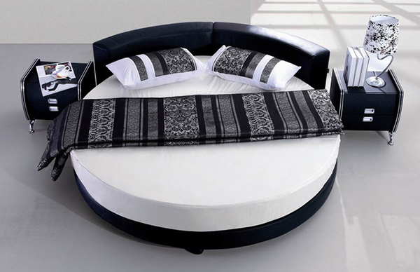 Amazing Round Beds For Your Bedroom - Black leather round bed