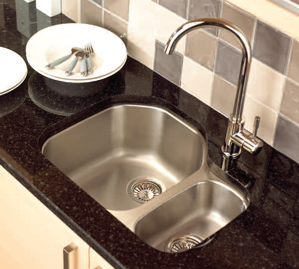 undermount stainless steel kitchen sink with black marble - Kitchen Basin Sinks
