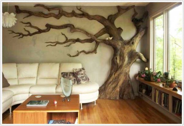 Attractive-and-Unique-Wooden-Wall-Decoration-Ideas-Modern-Interior-Decorating-Ideas-Incorporating-Tree-Wall-Art