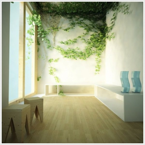 Wall-Art-Ideas-Indoor-Climbing-Plants-Wooden-Floor
