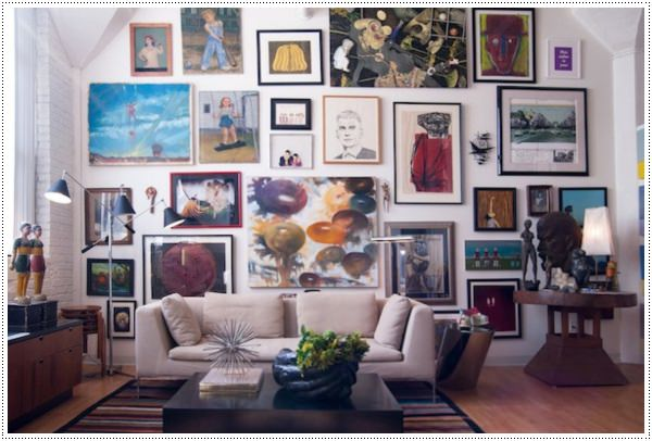 artistic-living-room-design-with-cool-black-standing-lamp-and-colorful-framed-picture-collections-that-used-to-be-wall-art-interior-theme