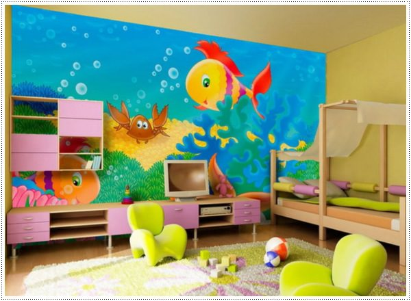 awesome-wall-art-ideas-with-under-sea-painting-for-kids-bedroom