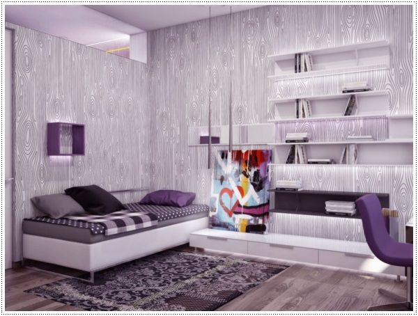 bedroom-decoration-decorative-curl-wall-art-design-ideas-with-soft-gray-paint-color-scheme-for-bedroom-along-with-wall-mounted-plank-bookshelf-also-hard-wood-floor-design-ideas