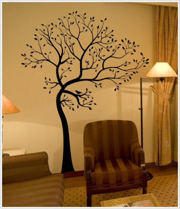 compact-brown-stripes-armchairs-on-the-brown-carpet-mix-with-tree-wall-decal-and-floor-lamp-idea
